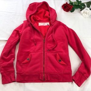 J Crew Sherpa Lined Hot Pink Hoodie S